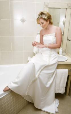bride in bathroom